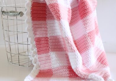 Crochet Pink Gingham Blanket